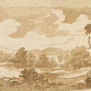 산악 풍경 속, 나무들이 늘어져 있는 강