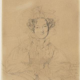 주름 장식의 챙없는 모자를 쓴 여인의 반신 정면 초상