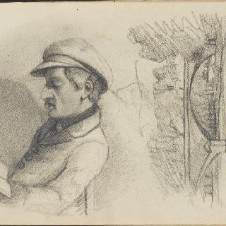 앨범 : 앉아서 책을 읽고 있는 남자 ; 다리가 있는 풍경