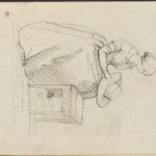 앨범 : 무릎 위에 모자를 놓고 앉아 있는 젊은 여인