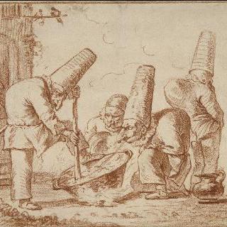 냄비 주위의 세 개의 폴리치넬라와 뒷모습의 네 번째 폴리치넬라