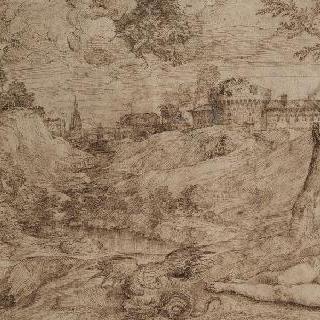 용과 누워있는 나체의 여인이 있는 풍경