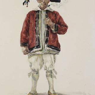 염전의 일꾼 복장의 서 있는 남자 : 몽포르드 사일레 식료품상