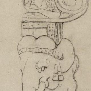 코끼리 등위에 올려진 자리 위의 서 있는 연사