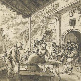 카바레 문 앞의 농민들