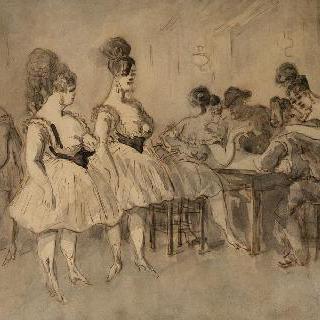 옷차림이 가벼운 여인들과 파트너로 자리에 앉은 남자들
