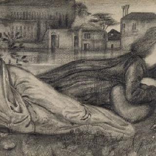 베니스의 물가의 초목 위의 앉아있는 여인들