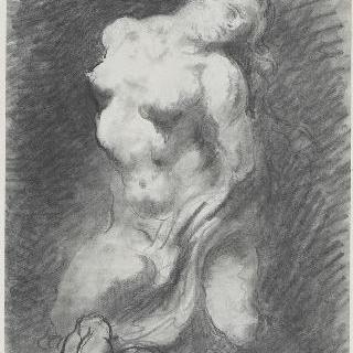 바닥에 누워있는 아이 곁의 무릎을 꿇은 나체의 여인