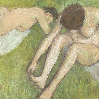 풀밭 위의 두 미역감는 여자