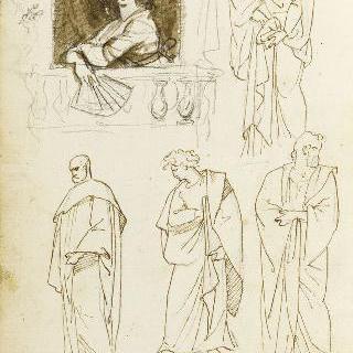 앨범 : 고대풍의 주름진 옷을 두른 인물들 : 창문가의 부채를 든 여인