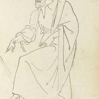 앨범 : 고대풍의 주름진 천을 두른 인물, 받침돌에 기댄 왼쪽 발