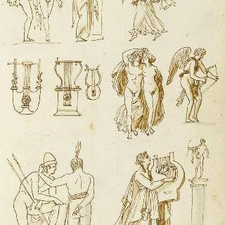 앨범 : 습작 종이 : 고대풍의 옷을 입은 인물들 군상