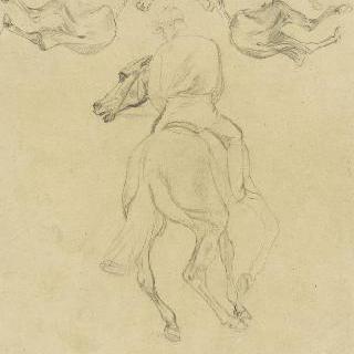 등쪽에서 본 기수, 두 마리 말