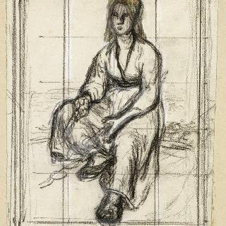 앉아있는 아낙네의 앞모습
