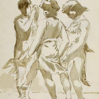 원을 그리며 춤추는 세 아이들