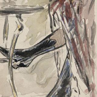 조그만 원탁 앞의 붉은 치마 아래의 장화를 신은 두 다리