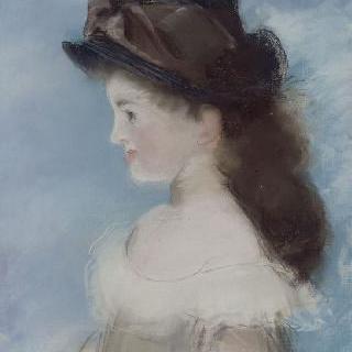 모자를 쓴 마드무아젤 에슈트의 측면 초상