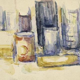 부엌 테이블 : 작은 단지와 병