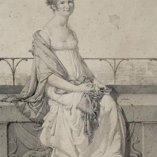 이탈리아 풍경 속 앉아있는 마드무아젤 바르바라 반시의 초상