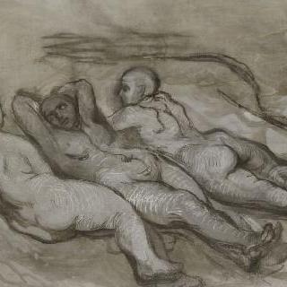 절벽 아래에서 누워있는 세 명의 나체 여자에 대한 습작