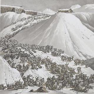 생 베르나르 산의 구제원에 도착하는 연대