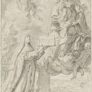 무릎을 꿇고 성모에게 교회를 받치는 수녀