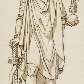 로마인의 토가를 들고 있는 승리의 나폴레옹과 날개달린 승리의 여신