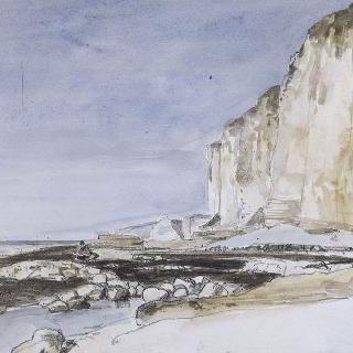 에트르타의 바닷가와 절벽의 전경