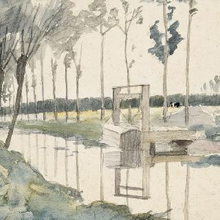 방목장 사이로 흐르는 나뭇가의 작은 운하