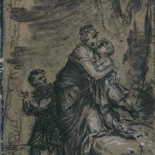 공원의 오르탕스 왕비와 두 아이들