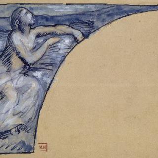 풍경 속 밀다발을 들고 앉아있는 반라의 여인