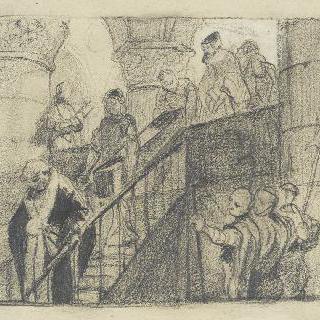 관을 들고 계단을 내려오는 인물들