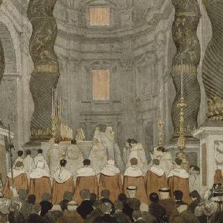 베르냉의 천개 아래 생피에르드롬의 로마 교황의 제례