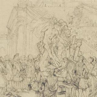 루이 14세에게 자신의 작품, 밀롱 드 크로톤을 소개한 푸게에 대한 습작