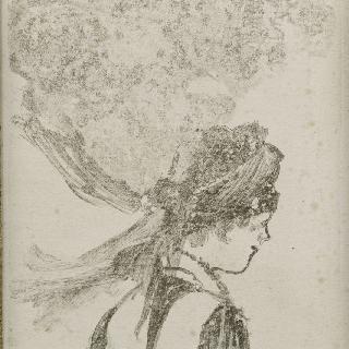 여자 상반신, 오른쪽 프로필 : 하녀