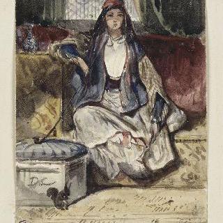 다람쥐와 함께 실내에서 긴의자에 앉아 담배를 피고 있는 젊은 동양여인