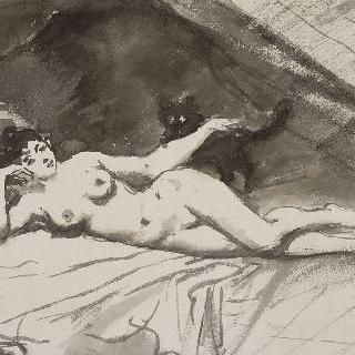 침대에 누워있는 나체의 여인과 고양이를 안고 있는 여인