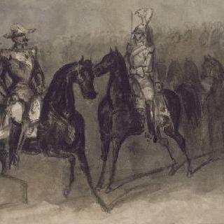 열병식을 지나가는 말 위의 나폴레옹 3세