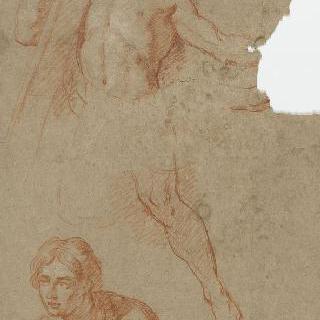 십자가를 든 나체의 남자 : 그리스도, 주름진 옷을 두른 인물 흉상