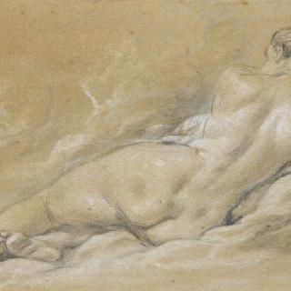 누워있는 여인의 뒷모습 나체화