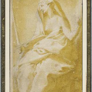 정의의 검과 저울을 들고 있는 앉아있는 정의의 여신