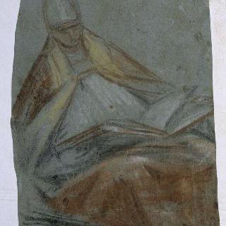 오르쪽으로 몸을 돌린 채 큰 서책을 들고 앉아있는 주교