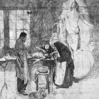 벌거벗은 한 아이를 치료하는 수녀와 두 남자 곁에 나타난 그리스도