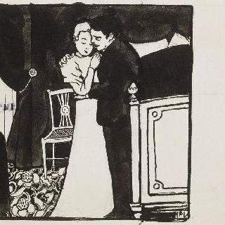 루비스, 1897년경의 친밀함 연작의 목판화용 준비 데생