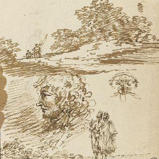 습작 : 나무 근처의 기병대 : 측면 두상 : 서 있는 두 인물