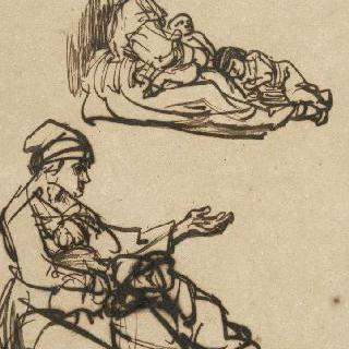 바닥에 앉아있는 거지 여인과 두 아이들 습작 2 점