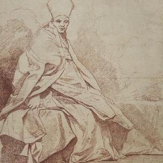 성직자 의상의 긴 옷을 둘러 입은 형상 습작