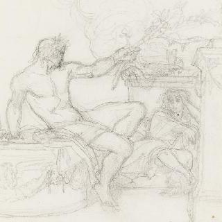 앉아있는 인물 곁 원주 토대 위에 앉아있는 바쿠스