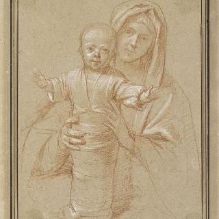 강포로 싸여져 서 있는 아기 예수를 잡고 있는 성모
