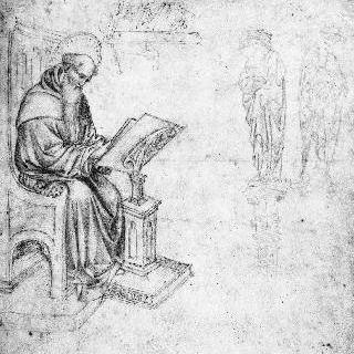 집무실의 성 제롬 : 두 개의 성인 동상